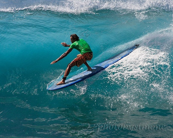 Turquoise wave blue room in the curl surfer Maui fine art photography