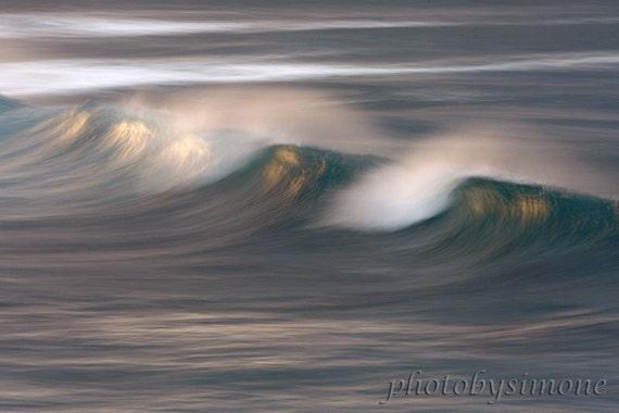 Painted Wave wispy ocean spray seascape sunset light golden glow fine art photography