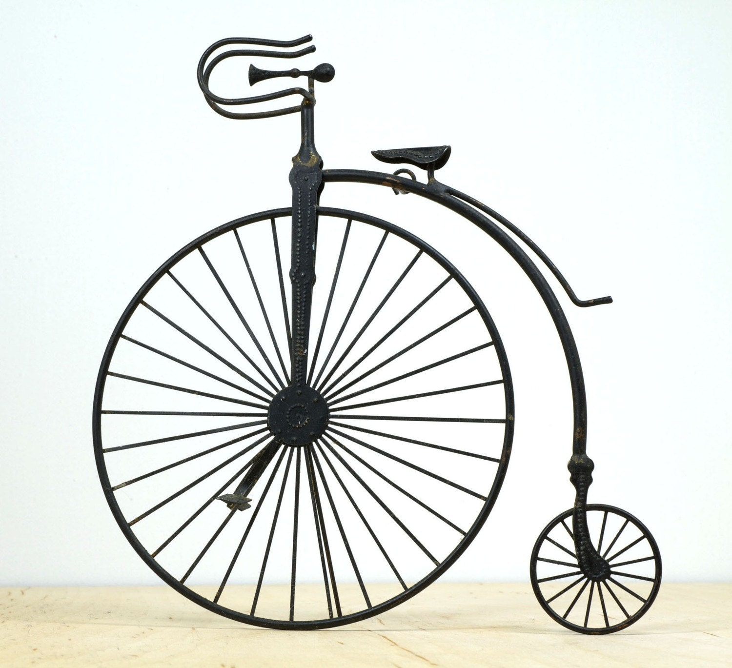 Vintage Metal High Wheel Bicycle Sculpture