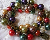 Autumn Harvest pearl and crystal bracelet in the colors of a fall harvest