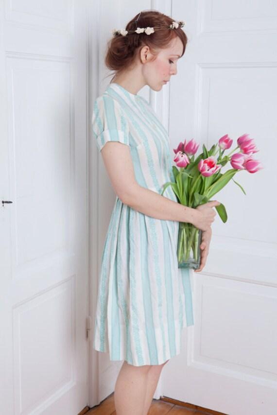 1950's cotton summer striped day dress