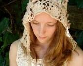 Made-To-Order Custom Autumn winter bride any color Rustic hat bride Latte ecru veil crochet hood headpiece lace anthropologie like