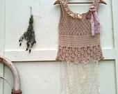 Ecru spring summer love rustic crochet top tank top Shabby prairie girl fairy tattered cami boho top by Kateblossom