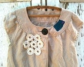 Khaki Crop Jacket eco rustic Hand Embroidery prairie cottage Vintage Lace shabby top Upcycled