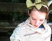 Spring green headband, magnolia,, vintage olive satin ribbon, tulle, handmade hand dyed muslin, bride cowgirl wedding - kateblossom