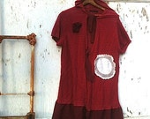 SALE Pick berries Prairie girl tunic hoody berry summer magnolia, Cranberry, Oversized, Plus size, Upcycled, Sweater, Tunic, Romantic