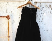 RESERVED for kate d cowgirl romantic dress Rustic strapless velvet dress Love dress Black Strapless Formal Party Dress Ranch Lace