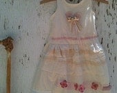 CUSTOM made-to-order handmade muslin BIRTHDAY dress/ little girl/ party dress/ pink roses/  ribbons/  romantic/lace/prairie baby
