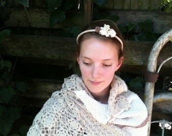 bride headpiece Hand dyed muslin rustic headband vintage muslin flowers lace garland