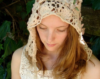 Made-To-Order Custom Autumn winter bride any color Rustic hat bride Latte ecru veil crochet hood headpiece lace anthropologie like