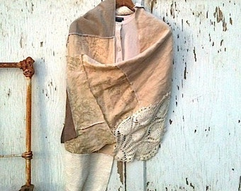 CUSTOM example made to order vintage lace latte ecru linen  natural ivory Rachel ashwell  shabby chic bride shawl shrug wedding