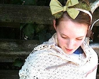 summer bride olive vintage green headband magnolia satin ribbon tulle handmade hand dyed muslin bride cowgirl wedding