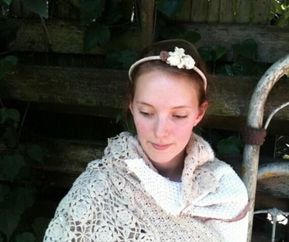 bride headpiece Hand dyed muslin rustic headband vintage muslin flowers lace garland