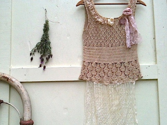 Ecru spring summer love rustic crochet top tank top Shabby prairie girl fairy tattered cami boho top by Kateblossom