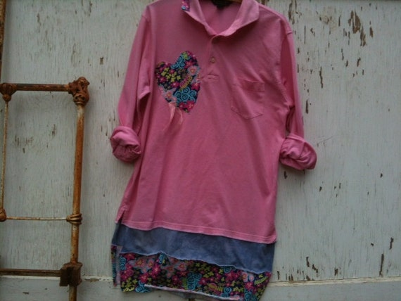 pink spring dress spring blossom t shirt dress Upcycled Brooks Brothers large dress hand dyed flowers, Large