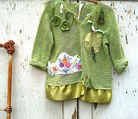 Spring green crocheted sweater, upcycled, embellished, ribbons, vintage linens, size L, prairie girl, rustic sweater