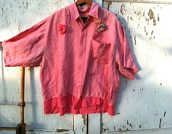 rustic Funky linen sweet pinky peach shabby chic tattered Tunic Anthropologie style  Upcycled embellished rustic shirt