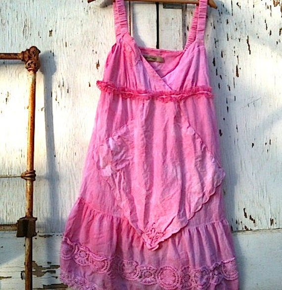 rustic Pink sundress, baby doll, valentine pink, shabby chic dress, hand dyed, spring blossom prairie