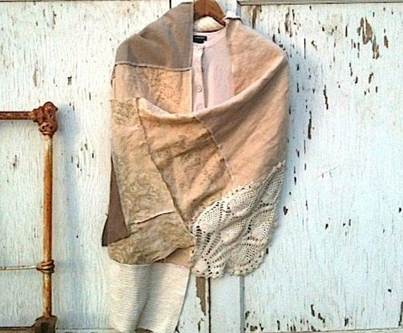 vintage lace latte shawl/ecru linen shrug/rustic natural ivory/rachel ashwell shabby chic fabric/ bride by Kateblossom/wedding