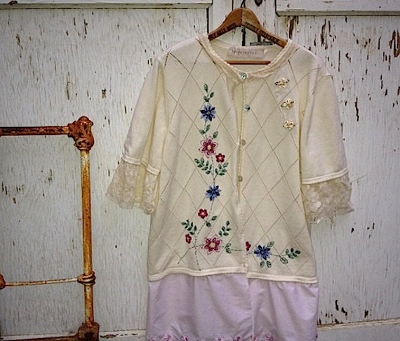 SALE rustic ecru flowery upcycled roses lace embroidery summer autumn spring sweater cardigan cottage chic