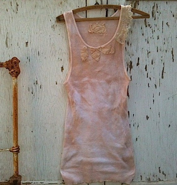 Summer  Rustic ivory latte ecru tee sleeveless  hand dyed shabby top Lace anthropologie like prairie girl appliqué  cowgirl