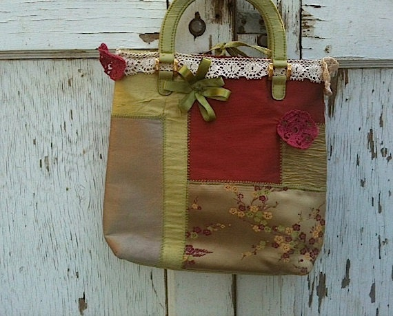 autumn Forest Sage Wine rustic purse shabby chic Upcycled Texas bag  prairie girl Sweetheart  purse, Laces Purse handbag