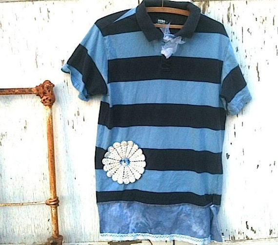 spring summer fun blue Rugby shirt Upcycled dress tunic oversized lace gypsy boho girl eveteam