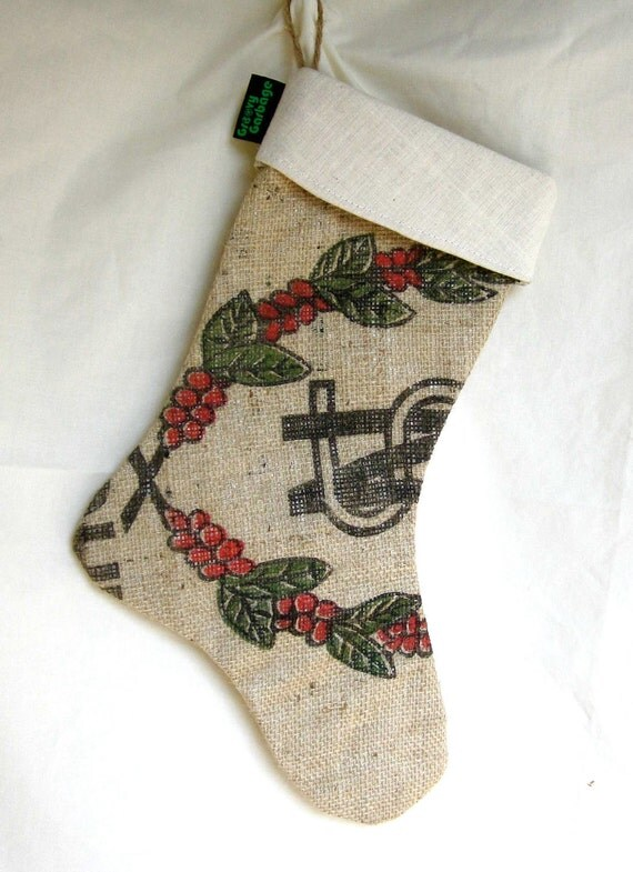 Upcycled Recycled / Christmas Stocking / Coffee Bean Bag / Burlap
