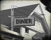 Retro Vintage Diner Sign Black and White 8 x 10 Photography Print