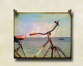 Vintage Bicycle Photography Waterfront Sailboat 8 x 10 Print Retro Handlebars Front Page Item