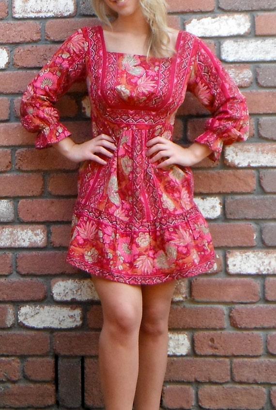 Beautiful Red Indian Gauze Boho Mini Dress