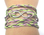 Braided Purple and Green Cotton Cord Infinity Bracelet