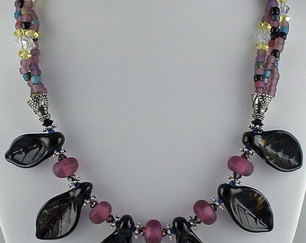 """Lampworked Glass and Seed Bead Necklace - Seasons Gone By - 18.5"""""""