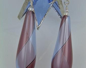 """Hollow Italian Handblown Glass Teardrop Earrings - Twists of Fate - 3"""""""