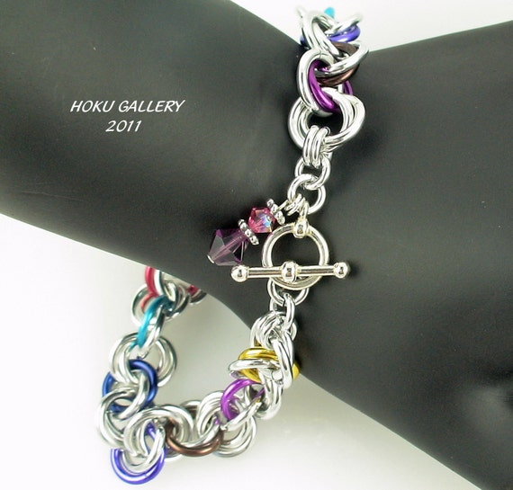 Shinny Aluminum and Multi Colored Anodized Aluminum Rings Chainmaille Bracelet (Mobius Weave) Confetti 2(Mobius) - 8""