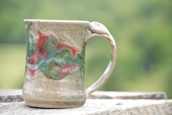 """Stoneware Mug with thumb rest, hand thrown pottery - beige, red and turquoise """"Watercolor Celadon"""" glaze - Microwave and dishwasher safe -"""