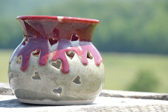 Pottery Candle Lantern, hand thrown stoneware, drippy red and with hearts and crackle beige glaze