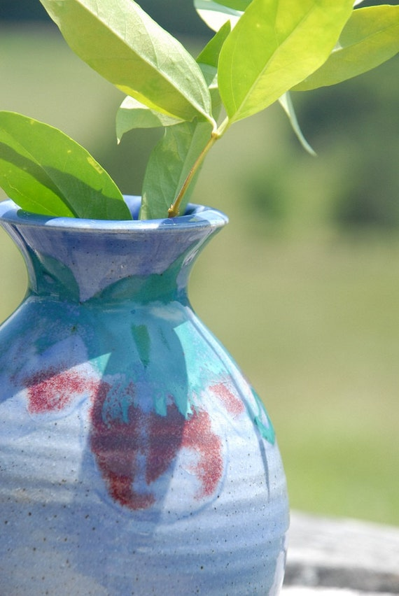 """Blue Pottery Vase, hand thrown, """"Watercolor Blue"""" glaze with red and turquoise splashes"""