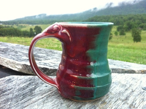 """Hand thrown Mug with Thumb Rest - red and turquoise """"Peacock"""" glaze - Microwave and dishwasher safe -"""
