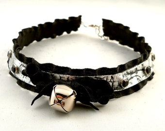 Silver on Black Leather Ruffle Ribbon and Bell with Silver Studs Collar Choker Necklace Goth Kawaii Cosplay Fantasy Lolita