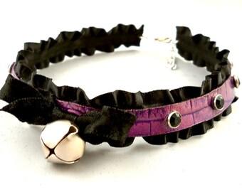 Metallic Purple on Dark Purple Leather Ruffle Ribbon and Bell Black Crystals Collar Choker Necklace Goth Kawaii Cosplay Fantasy Lolita