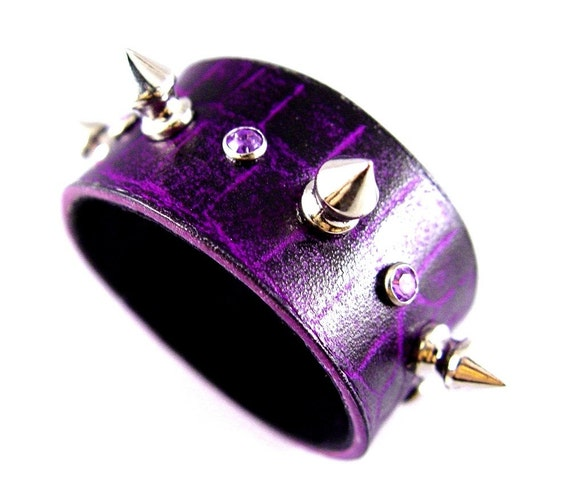 SALE Poison Purple Spike Leather Cuff Bracelet with Amethyst Rhinestones Punk Rocker Goth Alternative Fashion Wear