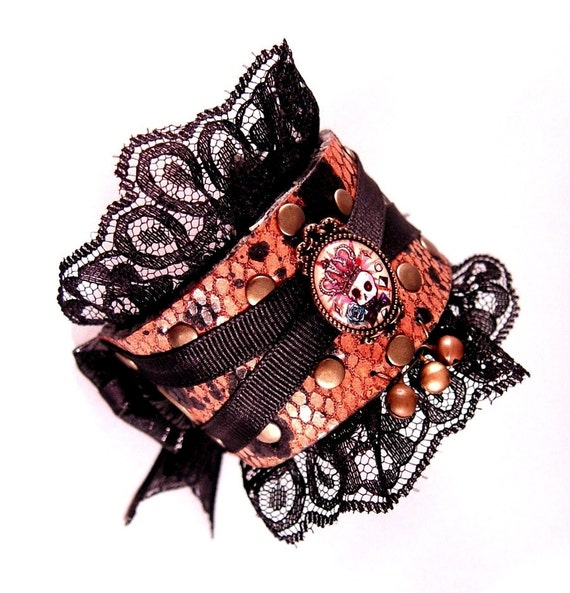 Reserved for Mirliflor Crowned Skull Dusty Rose Pink Leather with Black Lace Bow Cuff Bracelet