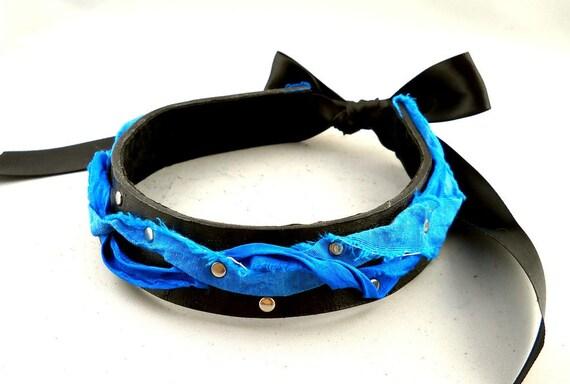 SALE Ocean Blue Frayed Silk Ribbon on Black Leather Collar Choker Necklace Goth Punk Alternative Fashion Wear