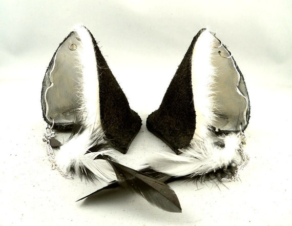 Leather White Pearl and Black Wolf Ears with Peircings and Feathers Inu Mimi Furry Goth Cosplay Alternative Fashion Wear
