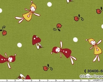 SALE - Woodland by Natalie Lymer for Lecien - Gathering in Green - 1/2 Yard