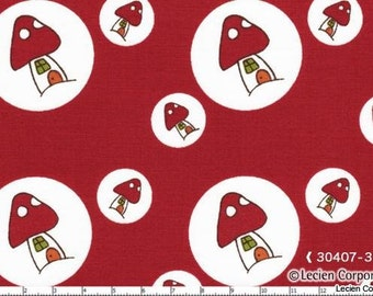 SALE - Woodland by Natalie Lymer for Lecien - Toadstool Spots in Red - 1/2 Yard