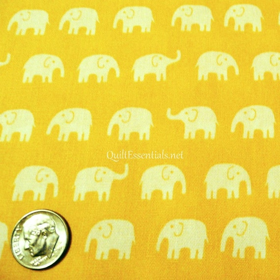 Daiwabo Japan Elephants in Yellow -  Fat Quarter