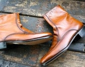 Handome Whiskey brown vintage leather boots...Hip BEATLE Boots Size 8 MEN, 10 Womens...