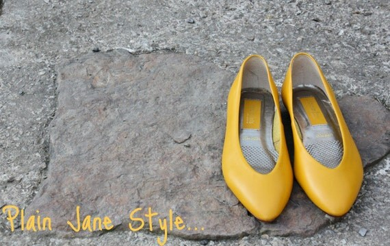 Plain Jane Style...Mustard Yellow Flats Retro. . . Hip. . . Size 6M..Etsy FRONT Page Item